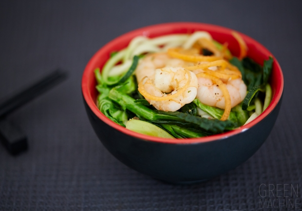 prawn zucchini steam fry noodles